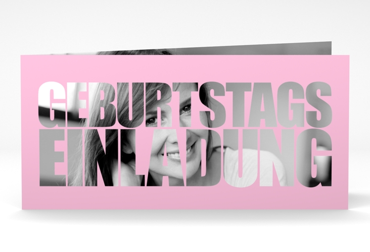 "Einladungskarte ""Jahreszahl"" DIN lang Klappkarte rosa"