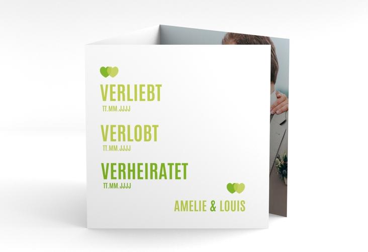 "Dankeskarte Hochzeit ""Couple"" Quadr. Karte doppelt gruen"