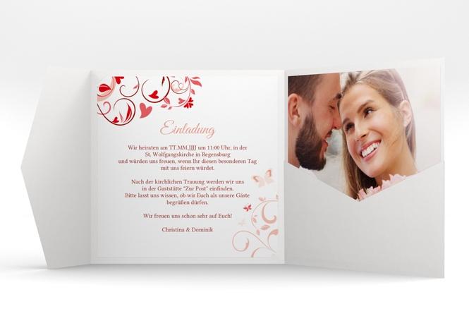"""Hochzeitseinladung """"Lilly"""" Pocketfold rot"""