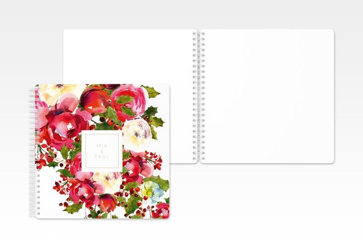 """Gästebuch Hochzeit """"Blumenpracht"""" Ringbindung weiss"""