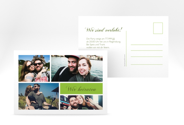 "Verlobungskarte ""Collage"" A6 Postkarte gruen"
