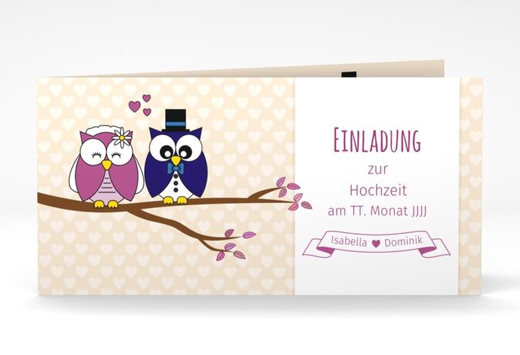 """Hochzeitseinladung """"Eulenliebe"""" DIN lang Klappkarte"""