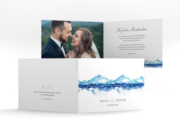 "Danksagungskarte Hochzeit ""Bergliebe"" A6 Klappkarte Quer blau"