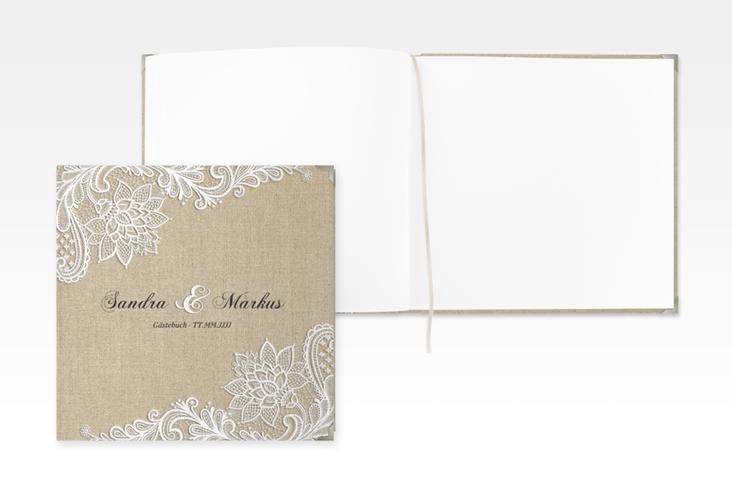 """Gästebuch Selection Hochzeit """"Lace"""" Leinen-Hardcover beige"""