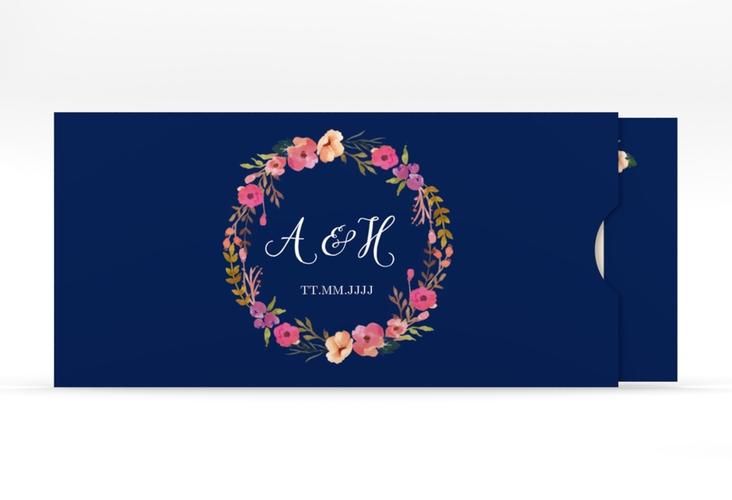 """Hochzeitseinladung """"Fiore"""" Einsteckkarte blau"""