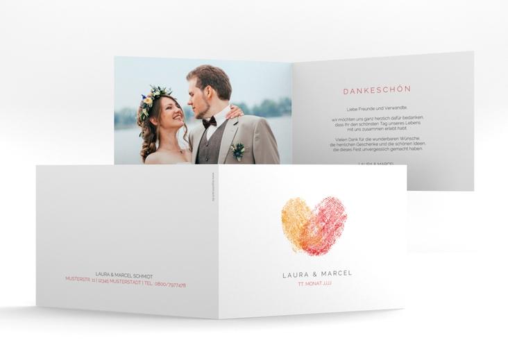 """Dankeskarte Hochzeit """"Fingerprint"""" A6 Klappkarte Quer rot"""
