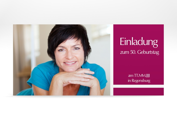 "Einladungskarte ""Gerd/Gerda"" DIN lang pink"
