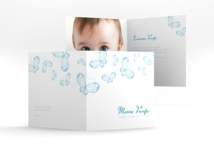 """Einladung Taufe """"Protection"""" Quadratische Klappkarte blau"""