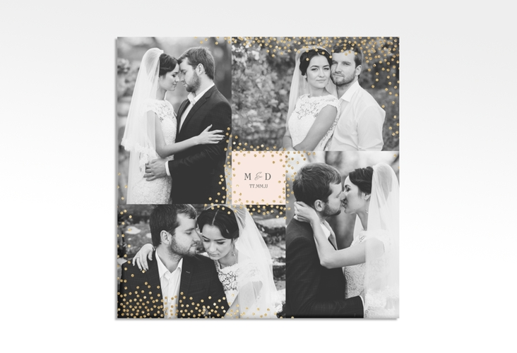 "Hochzeitscollage Leinwand ""Glitter"" 30 x 30 cm Leinwand rosa"