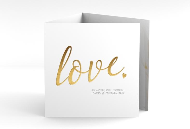 "Dankeskarte Hochzeit ""Glam"" Quadr. Karte doppelt weiss"
