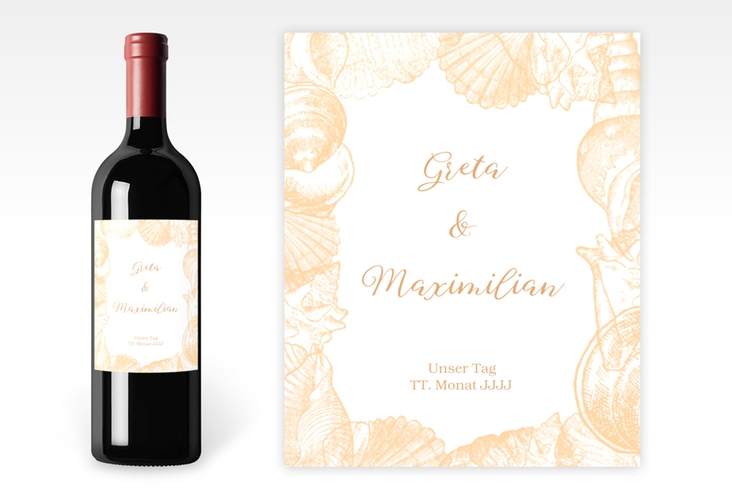 """Weinetikett zur Hochzeit """"Muschelreich"""" Etikett Weinflasche 4er Set beige"""