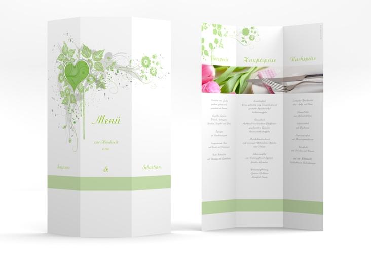"Menükarte Hochzeit ""Triest"" DIN A4 Wickelfalz gruen"