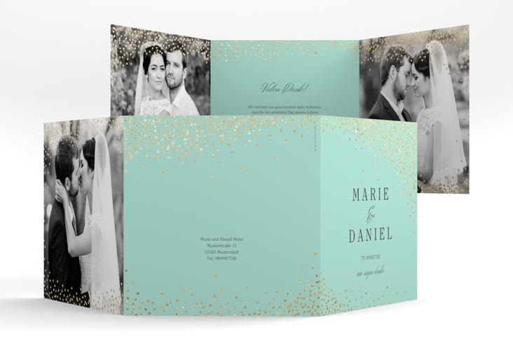"Dankeskarte Hochzeit ""Glitter"" Quadr. Karte doppelt mint"