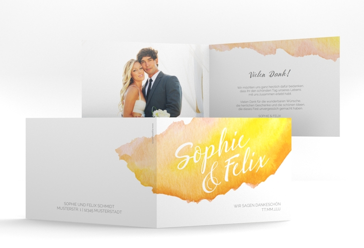 "Danksagungskarte Hochzeit ""Aquarella"" A6 Klappkarte Quer gelb"