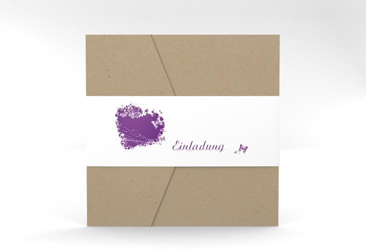 """Hochzeitseinladung """"Mailand"""" Pocketfold lila"""