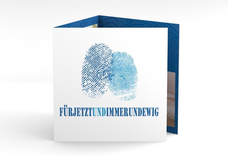 """Dankeskarte Hochzeit """"Messina"""" Quadr. Karte doppelt blau"""