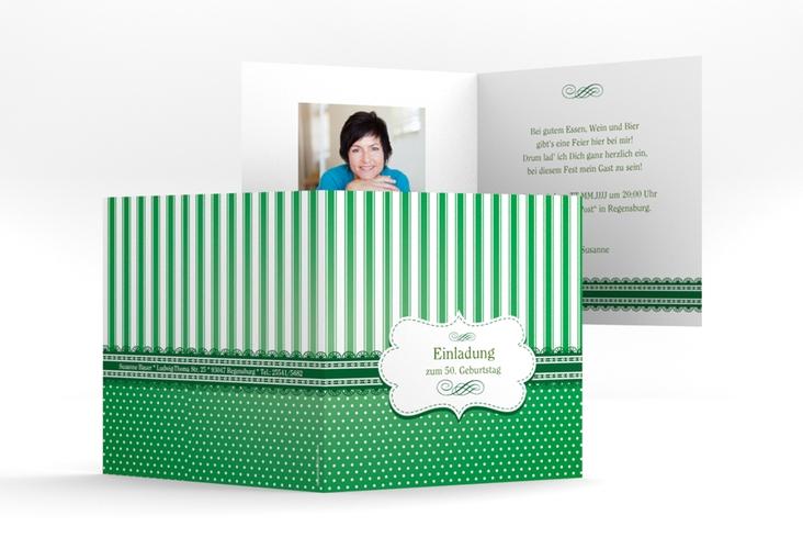 """Einladungskarte """"Heinrich/Henriette"""" Quadratische Klappkarte gruen"""