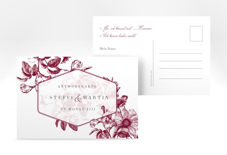 """Antwortkarte Hochzeit """"Magnificent"""" A6 Postkarte rot"""