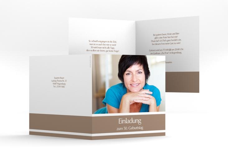"""Einladungskarte """"Gerd/Gerda"""" Quadratische Klappkarte braun"""