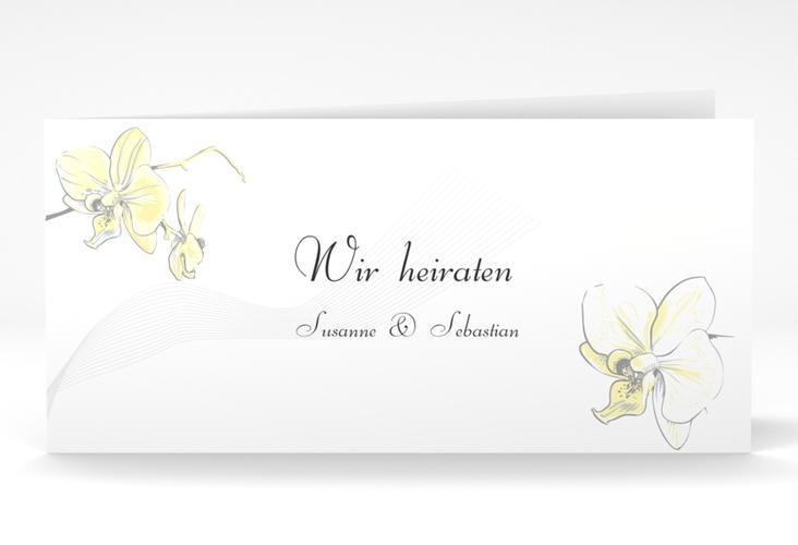 """Einladung Hochzeit """"Modena"""" DIN lang Klappkarte gelb"""