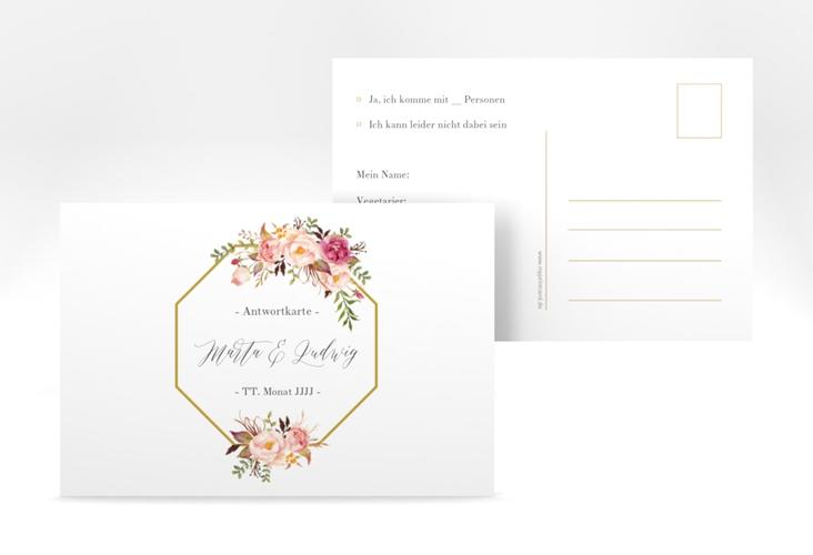 """Antwortkarte Hochzeit """"Prachtvoll"""" A6 Postkarte weiss"""