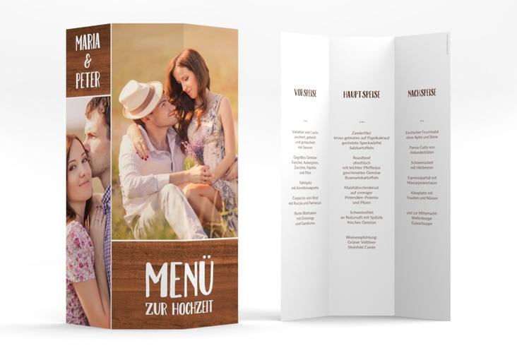 """Menükarte Hochzeit """"Landliebe"""" DIN A4 Wickelfalz braun"""