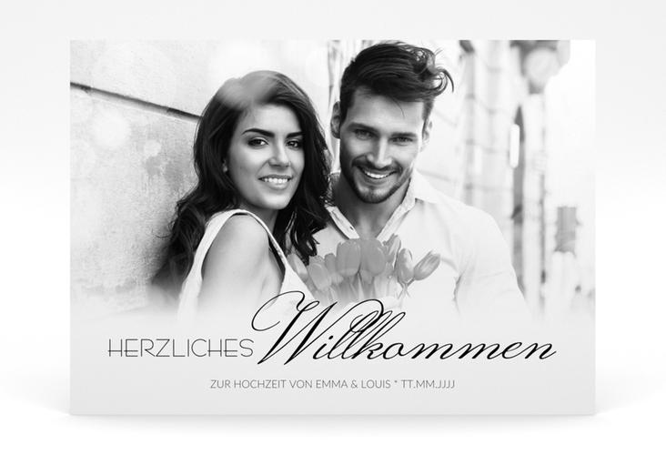 """Willkommensschild Poster """"Bokeh"""" 70 x 50 cm Poster weiss"""