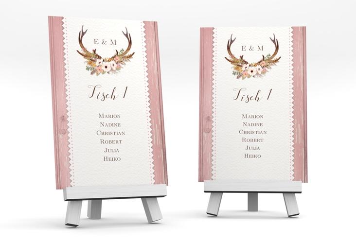"""Tischaufsteller Hochzeit """"Heimatjuwel"""" Tischaufsteller rosa"""