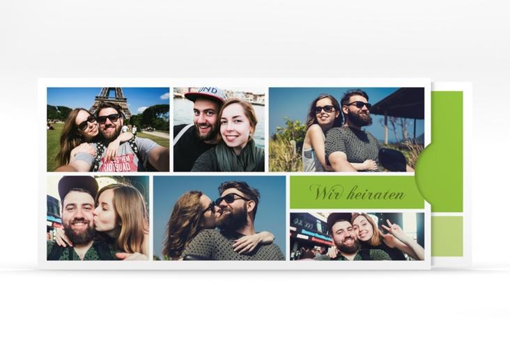 """Hochzeitseinladung """"Collage"""" Einsteckkarte gruen"""