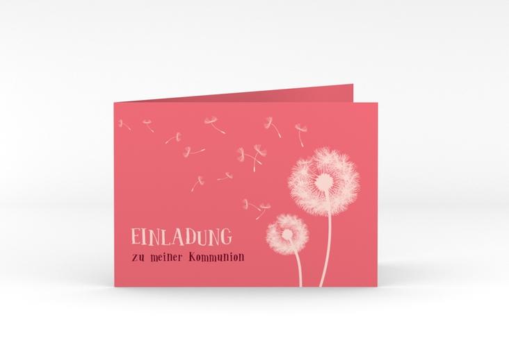 """Einladungskarte Kommunion """"Dandelion"""" A6 Klappkarte Quer rot"""