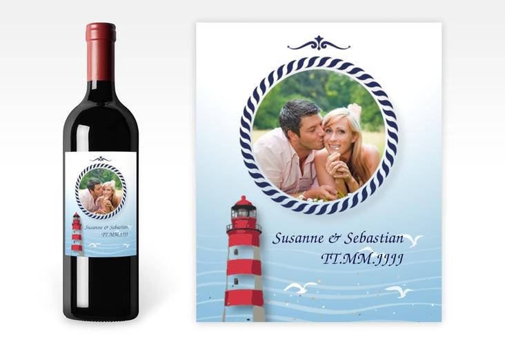 """Weinflaschenetikett Hochzeit """"Sylt"""" Etikett Weinflasche 4er Set blau"""