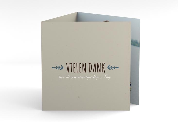 "Dankeskarte Hochzeit ""Eden"" Quadr. Karte doppelt blau"