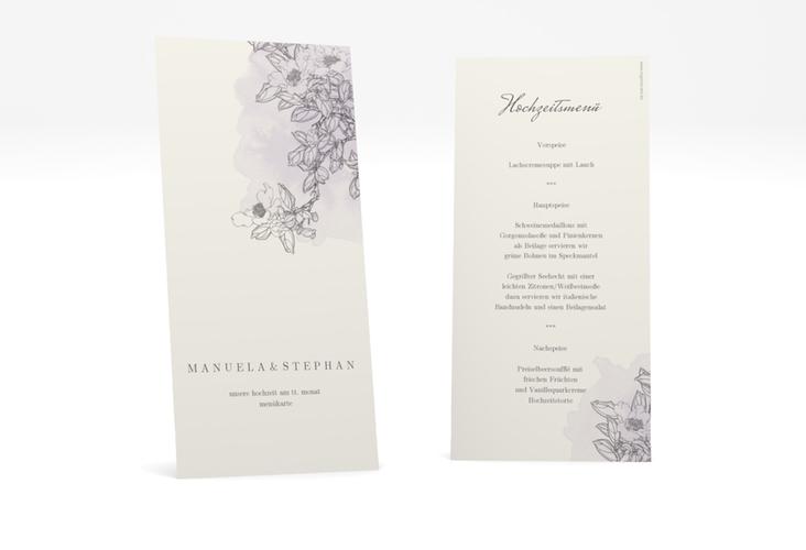 """Menükarte Hochzeit """"Artlover"""" DIN lang hoch flieder"""