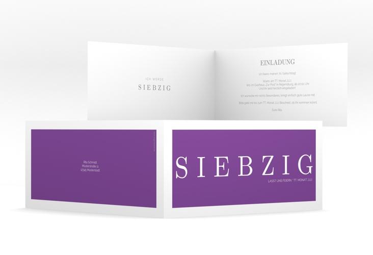 """Einladungskarte """"Schlicht"""" DIN lang Klappkarte lila"""