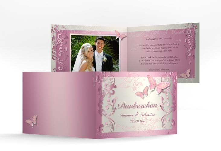 """Danksagungskarte Hochzeit """"Toulouse"""" A6 Klappkarte Quer rosa"""