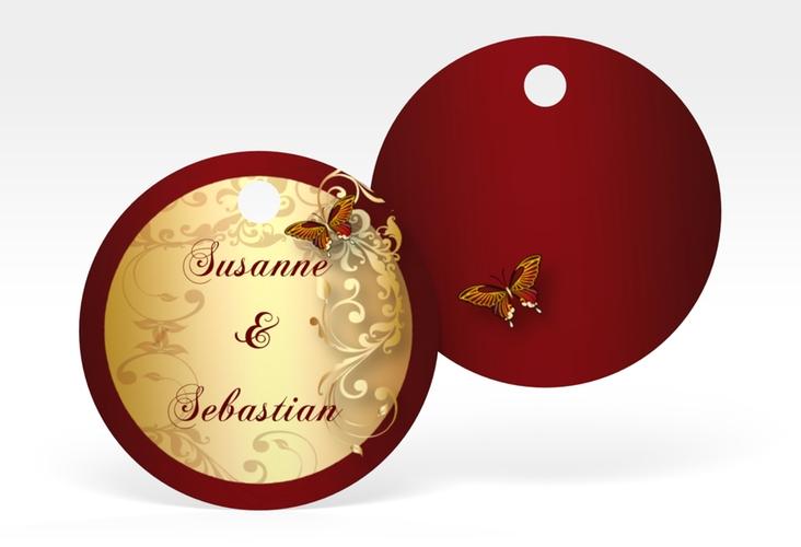 """Geschenkanhänger Hochzeit """"Toulouse"""" Geschenkanhänger, rund rot"""