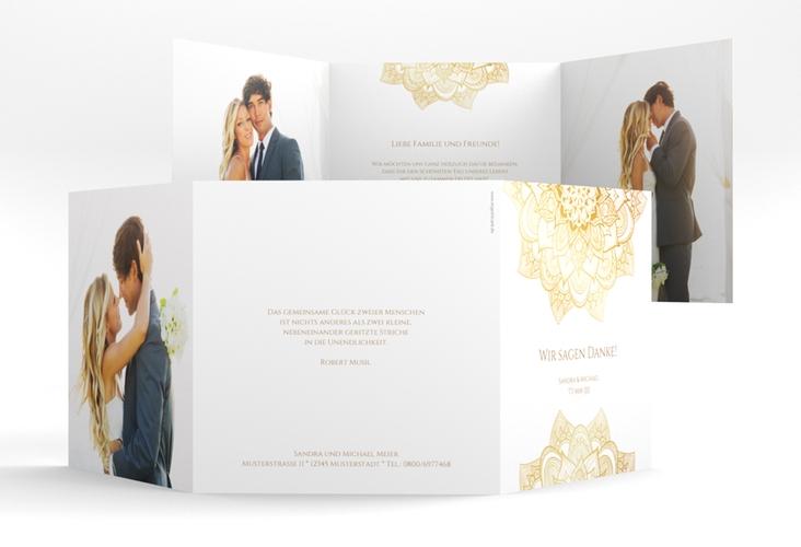 """Dankeskarte Hochzeit """"Delight"""" Quadr. Karte doppelt gold"""