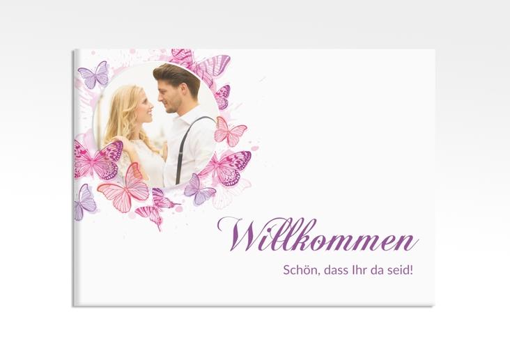 """Willkommensschild Leinwand """"Schmetterlinge"""" 70 x 50 cm Leinwand pink"""