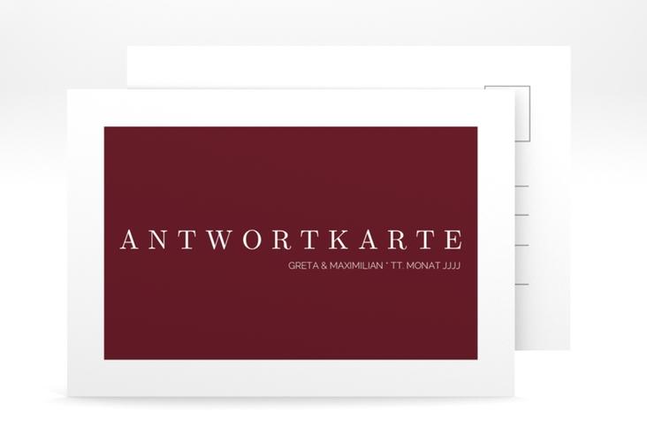 "Antwortkarte Hochzeit ""Simply"" A6 Postkarte rot"