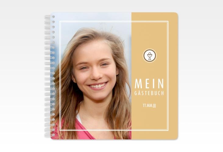 "Gästebuch Konfirmation ""Poculum"" Ringbindung beige"
