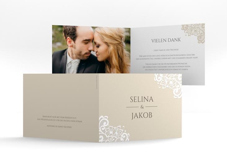 """Dankeskarte Hochzeit """"Vintage"""" A6 Klappkarte Quer beige"""