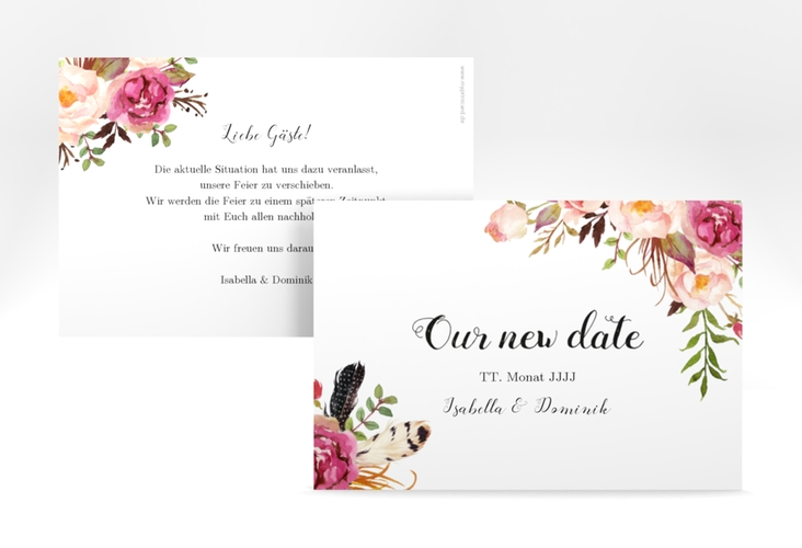 """Change the Date-Karte """"Flowers"""" A6 quer weiss"""