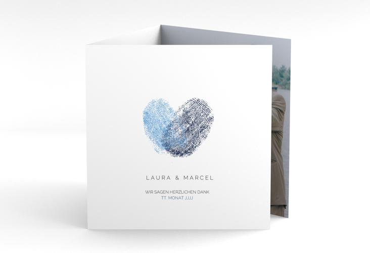 """Dankeskarte Hochzeit """"Fingerprint"""" Quadr. Karte doppelt blau"""