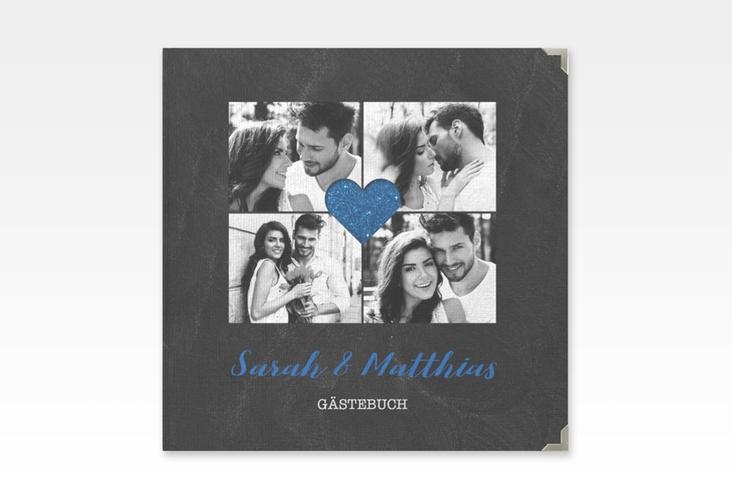 """Gästebuch Selection Hochzeit """"Sparkly"""" Leinen-Hardcover blau"""