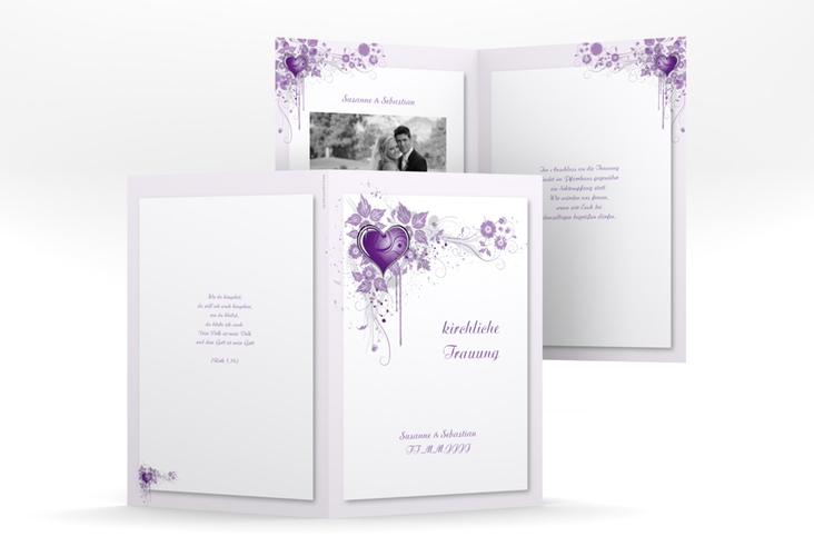 "Kirchenheft Hochzeit ""Triest"" DIN A5 geklappt lila"