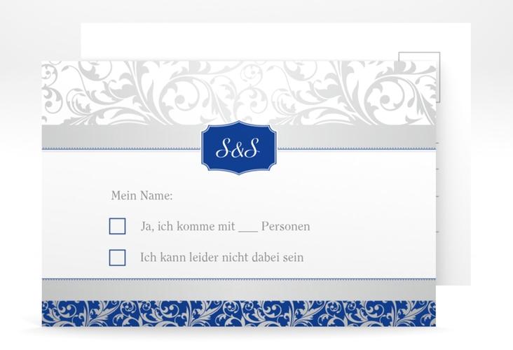"Antwortkarte Hochzeit ""Latina"" A6 Postkarte blau"