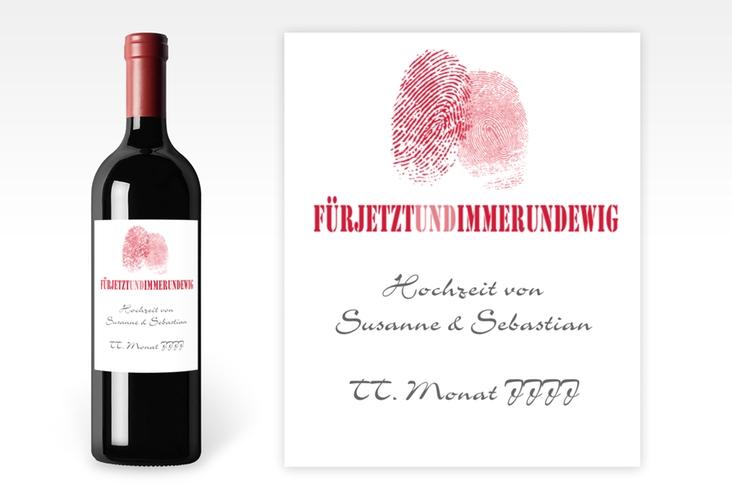 """Weinflaschenetikett Hochzeit """"Messina"""" Etikett Weinflasche 4er Set rot"""