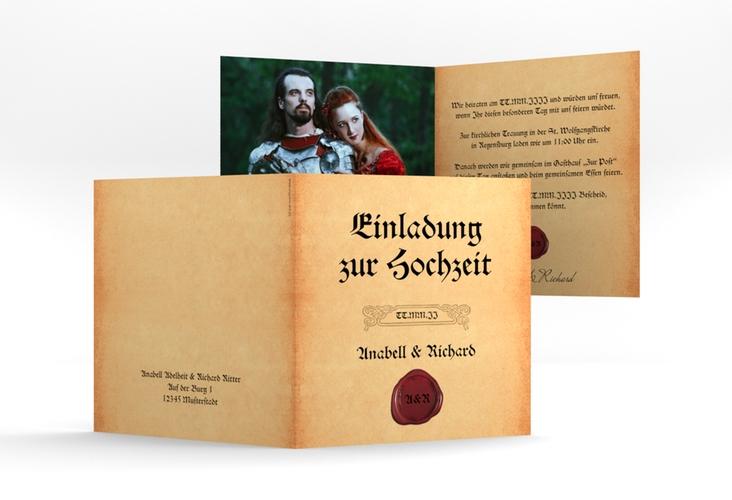 """Einladung Hochzeit """"Mittelalter"""" Quadratische Klappkarte"""