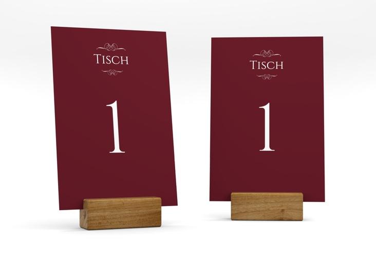 """Tischnummer Hochzeit """"Elegancy"""" Tischaufsteller rot"""