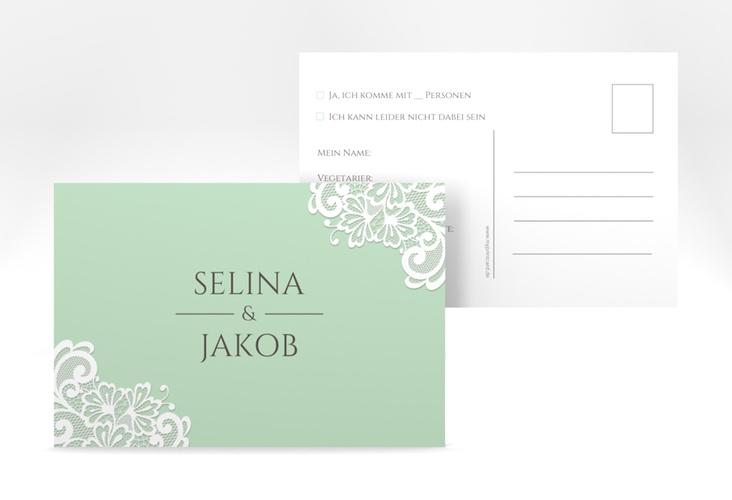 """Antwortkarte Hochzeit """"Vintage"""" A6 Postkarte mint"""